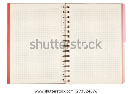 Close up of blank notepad isolated on white background with clipping path - stock photo