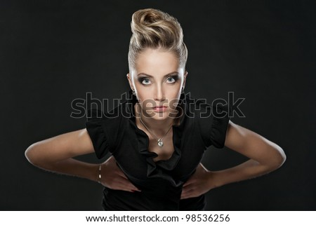 close up of blonde woman with fashion hairstyle - stock photo