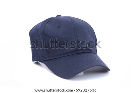 Close up of blue cap on white background isolated.