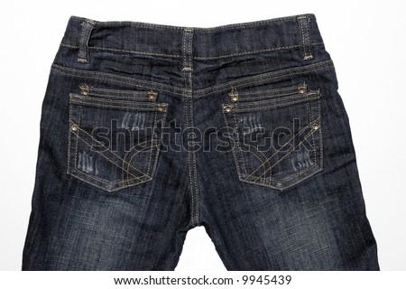 Close-Up Of Blue Jeans Back - Denim Background - stock photo