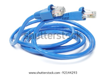 Close Up of Blue Network Cable and Plugs on White Background