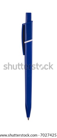 Close up of blue pen isolated with clipping path on white