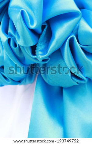 Close up of  blue ribbon fabric