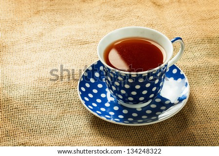 Close up of blue tea cup