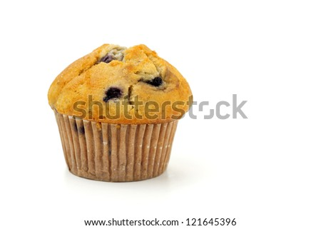 close up of blueberry muffin isolated on white background - stock photo