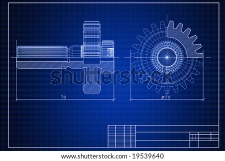 Close-up of blueprint background with gears - stock photo