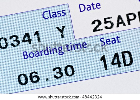 close-up of boarding pass,with time and seat - stock photo