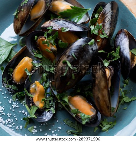 Close-up of boiled mussels with sea salt and chopped parsley, selective focus - stock photo
