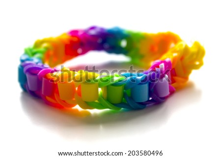 Close up of bracelets made with rubber bands - stock photo
