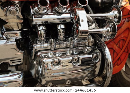 close up of Brand new motorcycle engine - stock photo