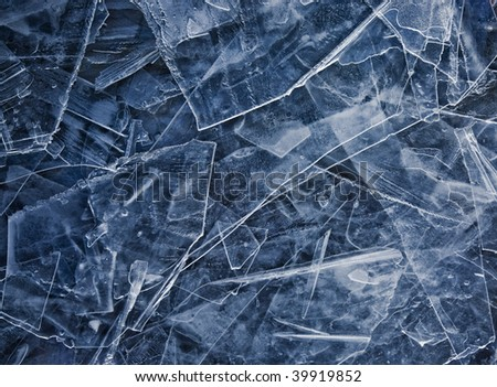 Close up of broken ice as abstact winter background. Blue tone. - stock photo