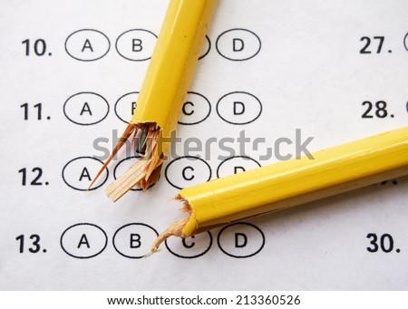 close-up of broken pencil - stock photo