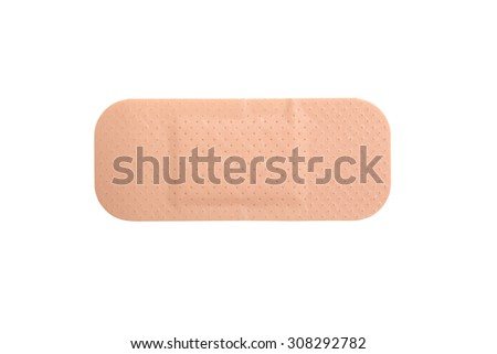 close up of brown adhesive plaster isolated on white background - stock photo