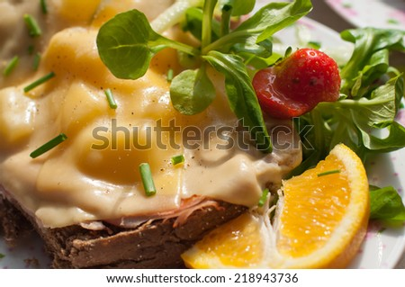 Close up of brown bread with cheese and pineapple