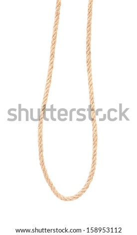 Close up of brown rope. Isolated on a white backgropund. - stock photo