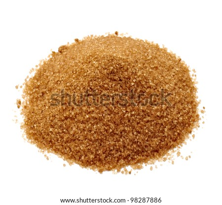 close up of  brown sugar on white background - stock photo