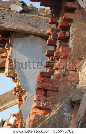Close up of building ruins - stock photo