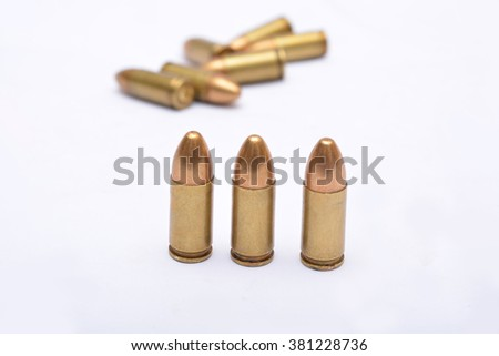 Close up of Bullets on white background