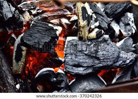 Close-up of burning charcoal,For cooking - stock photo