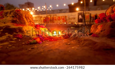 Close up of burning light lamp in the Indian temple with beautiful background