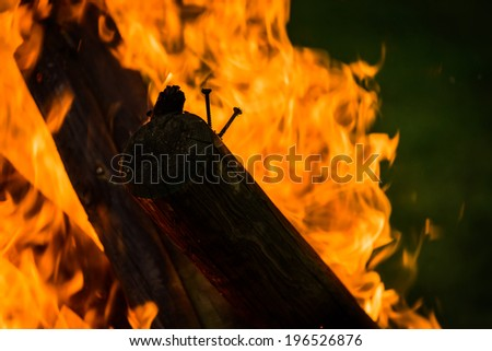 Close up of burning wood in fireplace.  - stock photo