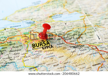 Close up of  Bursa  ,Turkey  map with red pin    - Travel concept - stock photo