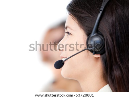 Close-up of business people with headset on standing against a white background - stock photo
