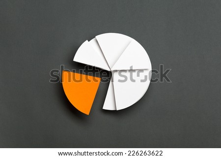 Close up of business pie chart, isolated on grey. One part of diagram is yellow, copyspace - stock photo