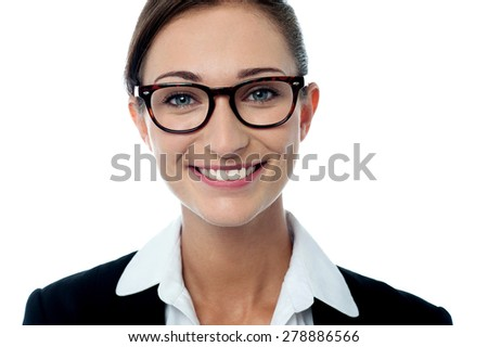 Close up of business woman with eye glasses