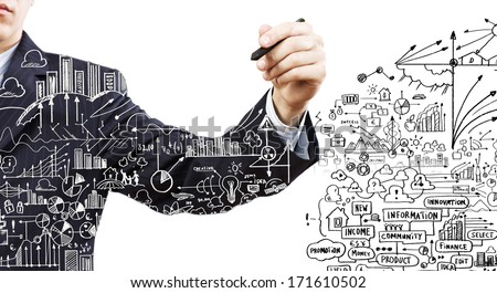 Close up of businessman drawing business sketches - stock photo
