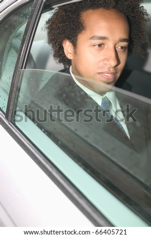 Close up of businessman in car
