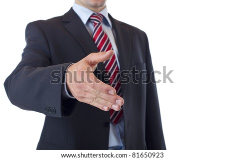 Close-up of businessman offering hand for handshake. Isolated on white background. - stock photo