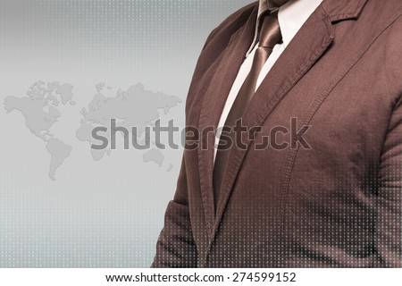 Close up of businessman person working with modern virtual technology. - stock photo