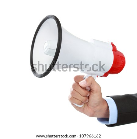 close up of businessman's hand holding a megaphone isolated on white background