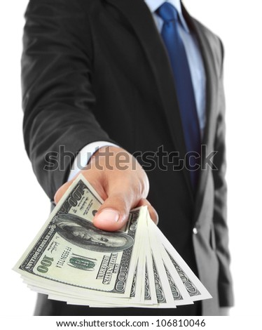 close up of businessman's hand offering money isolated over white background - stock photo