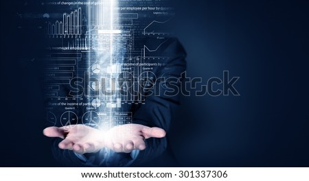 Close up of businessperson holding on palms digital business plan - stock photo