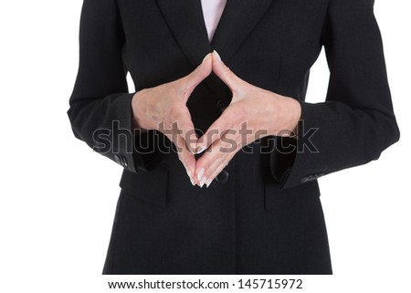 Close Up Of Businesswoman Hand Gesturing On White Background - stock photo