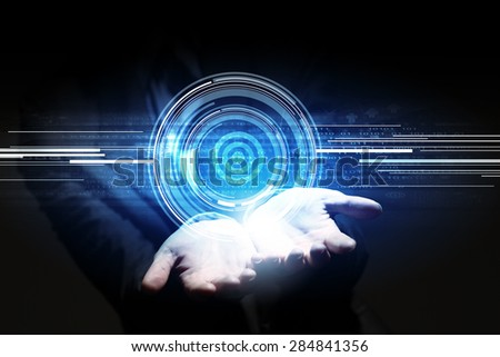 Close up of businesswoman hand holding media concept icon