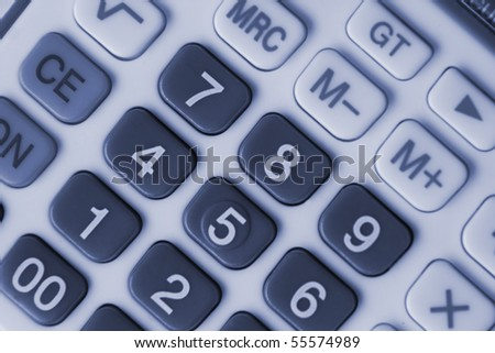 Close-up of calculator for different uses(monochrome) - stock photo