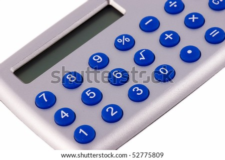 Close Up Of Calculator on plain white background