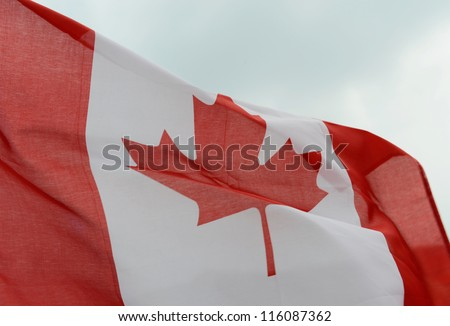 close-up of canada flag. - stock photo