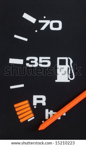Close up of car fuel meter - stock photo