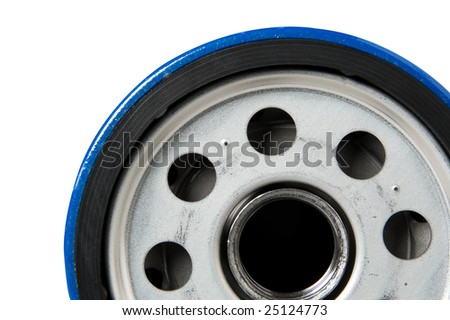 Close up of car or truck oil filter mounting surface. - stock photo