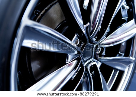 close up of car tire - stock photo