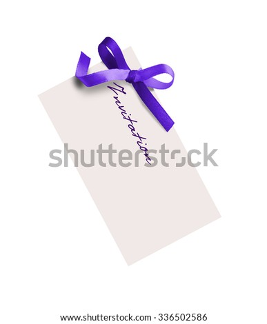 close up of card note with purple ribbon on white - stock photo