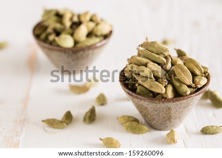 Close  up of cardamom pods which are used in Indian cooking - stock photo