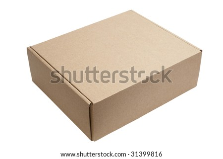 close up of carton  box  on white background with clipping path - stock photo
