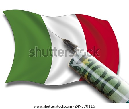 Close up of cash injection on italian flag - stock photo