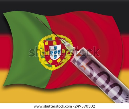 Close up of cash injection on portuguese flag against german flag - stock photo