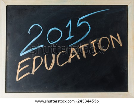 close up of chalkboard2015 and education topic - stock photo